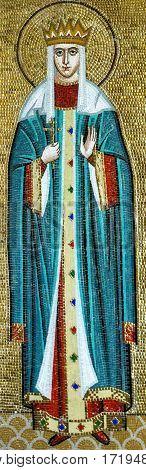 Odessa, Ukraine - Jan 26, 2017: Mosaic icon of Saint martyrs Alexandra in Odessa Orthodox Christian Uspensky monastery