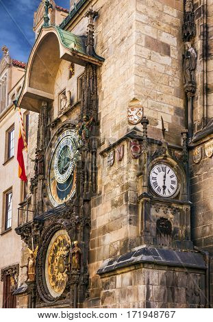 Prague clock tower. Astronomical Clock in Old Town, Czech Republic.
