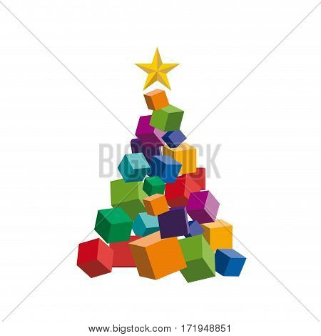 Vector Christmas discounts and promotions, box and pack