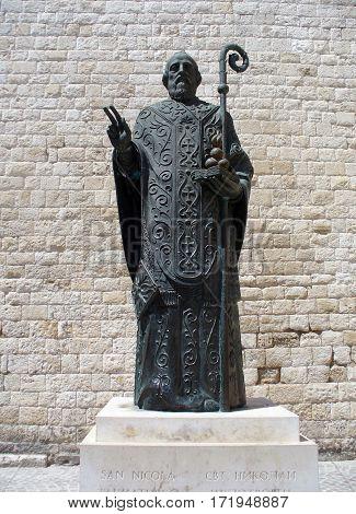Bari, Italy - Jan 30, 2017: Saint Nicholas statue in Bari near famous Christian Basilica