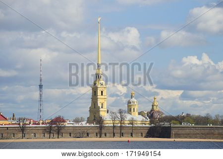 View on the Peter and Paul Cathedral, spring on a cloudy day. Saint Petersburg