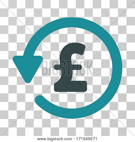 Pound Rebate vector pictograph. Illustration style is a flat iconic bicolor soft blue symbol on a transparent background.