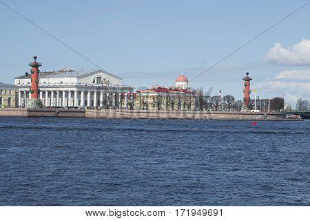 SAINT PETERSBURG, RUSSIA - MAY 04, 2015: View on the Strelka of Vasilyevsky island, may day. Saint Petersburg