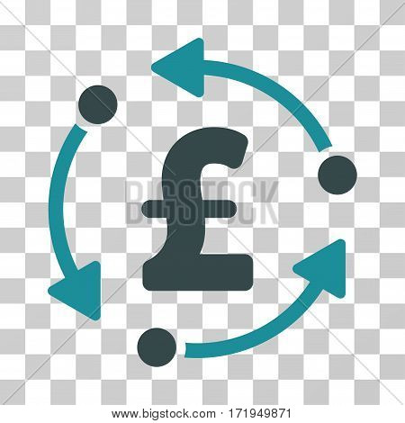 Pound Rotation vector pictograph. Illustration style is a flat iconic bicolor soft blue symbol on a transparent background.