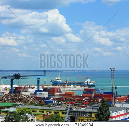 Odessa, Ukraine - May 3, 2016: Industrial zone of Odessa sea port, Ukraine.