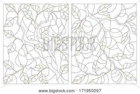 Set contour illustrations of stained glass the branch of a lemon tree and a pear tree with ripe fruits