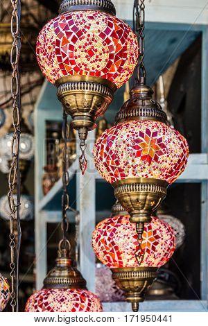 Arabic decorative lamps, oriental traditional souvenirs, Morocco
