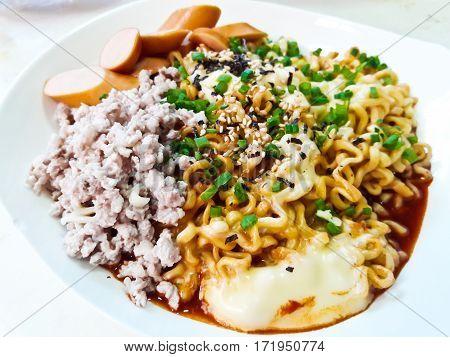Korean spicy noodles (Ramyun) in Korean Style