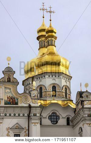 Kiev, Ukraine. Cupolas of Pechersk Lavra Monastery