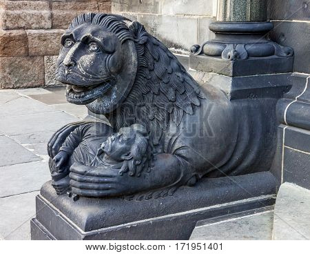 Bremen. Lion sculpture in Germany, Bremen Cathedral