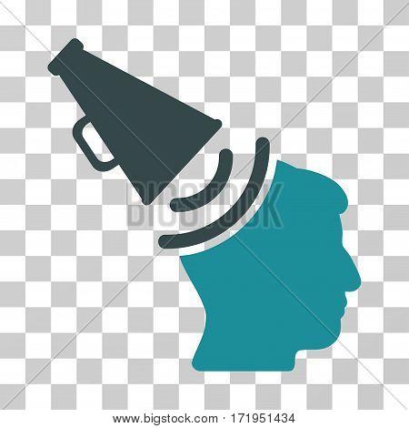 Propaganda Megaphone vector pictogram. Illustration style is a flat iconic bicolor soft blue symbol on a transparent background.