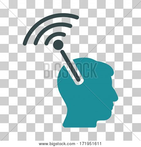 Radio Neural Interface vector icon. Illustration style is a flat iconic bicolor soft blue symbol on a transparent background.