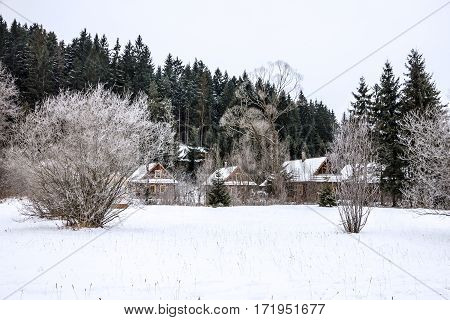 winter rural landscape, Slovakia country side view