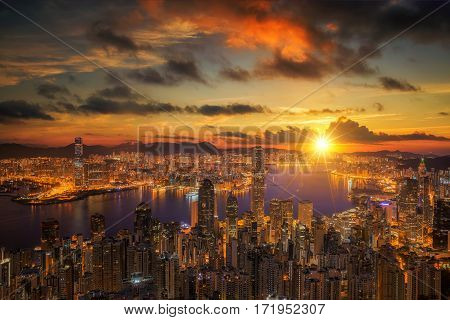 Sunrise over Victoria Harbor as viewed atop Victoria Peak Hong kong China