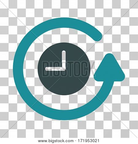 Restore Clock vector icon. Illustration style is a flat iconic bicolor soft blue symbol on a transparent background.