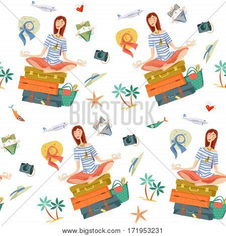Young woman sits on a stack of suitcases in a yoga lotus pose and meditates. Travel concept. Seamless background pattern. Vector illustration