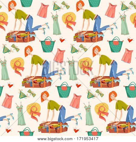 Young woman sitting on overflowed suitcase and trying to close it. Preparing for journey. Seamless background pattern. Vector illustration