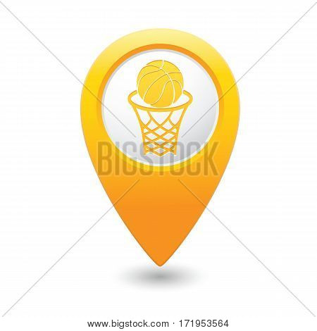 Basketball sign icon on the yellow map pointer