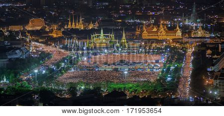 thai people sing a song with candle foe the King Bhumibol adulyadej in sanam luang on 22Oct. die deadgrand palacewat phra kaew pass away