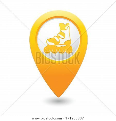 Roller skating icon on the yellow map pointer