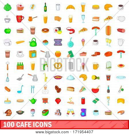 100 cafe icons set in cartoon style for any design vector illustration