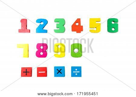 Random Colored Digits in Alphabetical Order Isolated on White (zero one two three four five six seven eight nine)