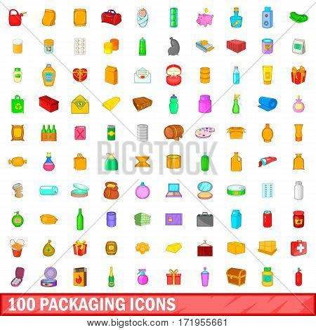 100 packaging icons set in cartoon style for any design vector illustration