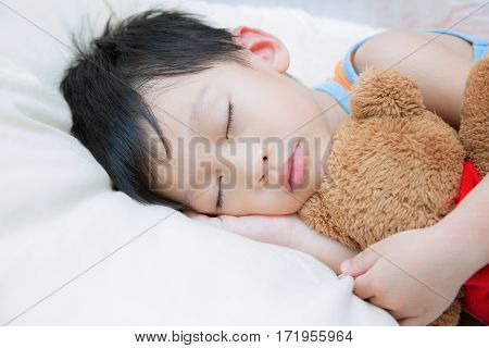 My Best Friend Baby sleeping with her teddy bear sleep for boy kid and children concept