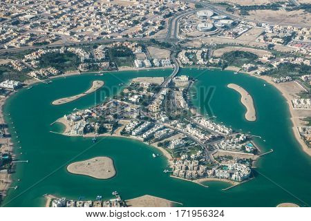 Aerial view of an island in Doha, Qatar