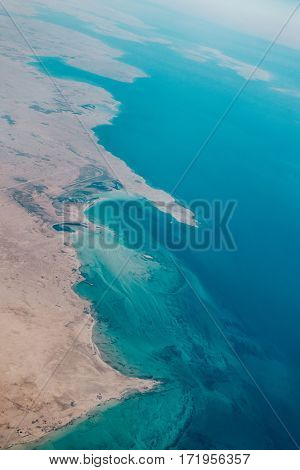 Aerial view of the north western coast of the Qatar peninsula