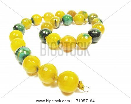 yellow and green agate beads necklace fashion jewelry