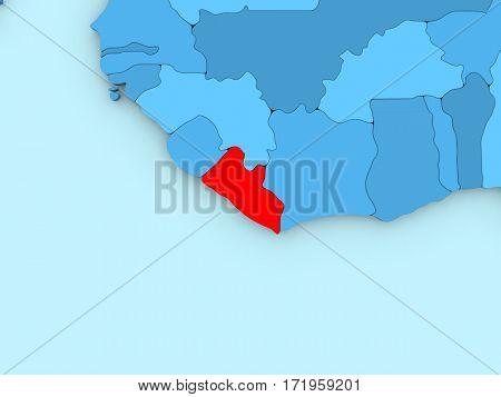 Liberia On 3D Map