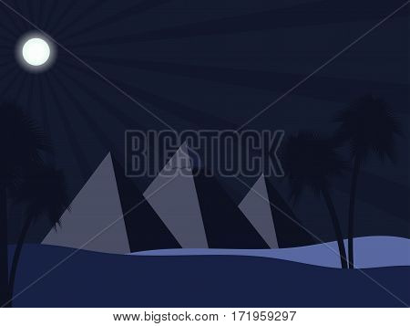 Egyptian pyramids in the desert. Full moon over the sands and palm trees. Ancient Egypt. Vector illustration