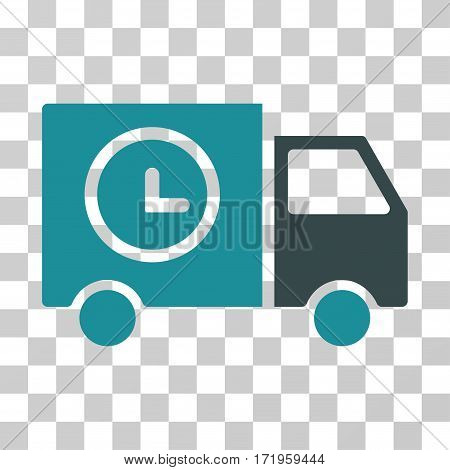 Shipment Schedule Van vector icon. Illustration style is a flat iconic bicolor soft blue symbol on a transparent background.
