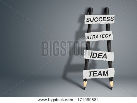 way to success concept , pencil Ladder