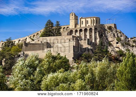 Citadel of Sisteron and its fortifications in summer. Alpes de Haute Provence Southern Alps France