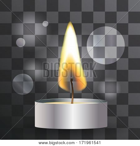 Vector realistic flame. Tea Candle on transparent background.. Light effect