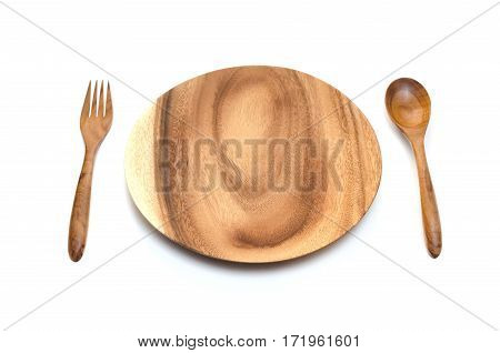 Top view of empty wooden dish wooden fork and wooden spoon on white background.