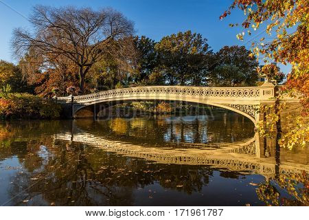 Fall in Central Park at The Lake with the Bow Bridge. Manhattan New York City
