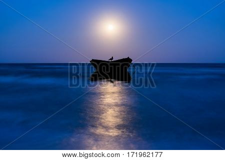 Night Landscape With Moon And Boat