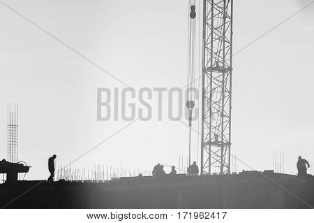Builders Working On The Construction Site, Erecting And Concrete Reinforcement, Workflow Constructio
