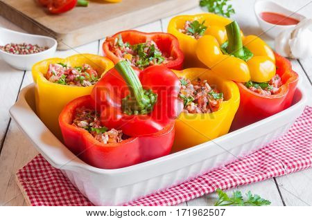 Bell peppers stuffed with meat and vegetables