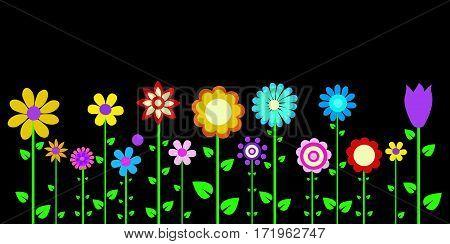 colorful spring flowers vector illustration art design