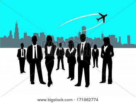 Business people vector illustration art with city background