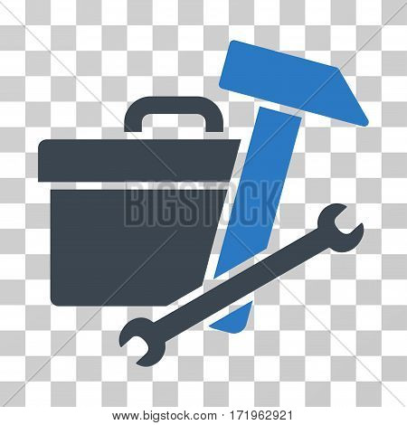 Toolbox vector icon. Illustration style is a flat iconic bicolor smooth blue symbol on a transparent background.