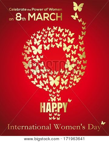 Gold gender symbol consisting of flying butterflies on a red festive background. Gender female symbol. International Women's Day card. Happy Women's Day concept. Vector illustration