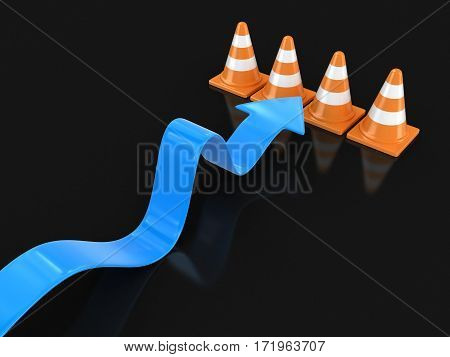 3D Illustration. Arrow and traffic cones. Image with clipping path