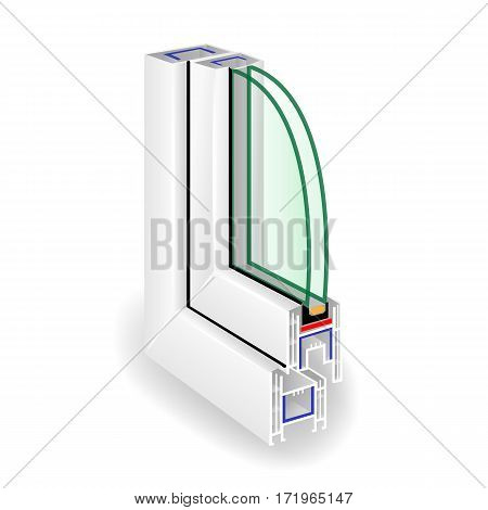 Window Frame Structure. Two Transparent Glass. Vector illustration
