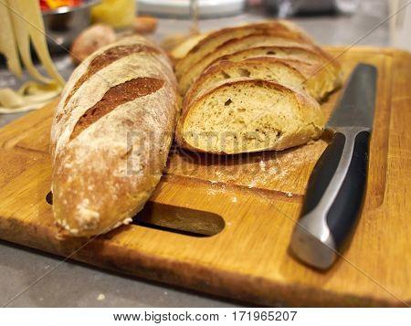 Freshly baked Famous Traditional Italian Ciabatta Bread