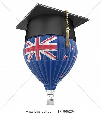 3D Illustration. Hot Air Balloon with New Zealand Flag and Graduation cap. Image with clipping path